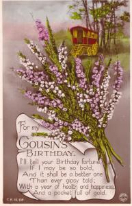 Romany Gypsy Caravan Antique Birthday WW2 Real Photo Greetings Postcard