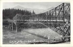 RPPC of the Bridge of the Gods Cascades of Columbia River Oregon Washing