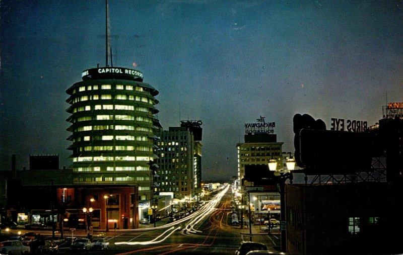 California Hollywood Vine Street At Night 1958