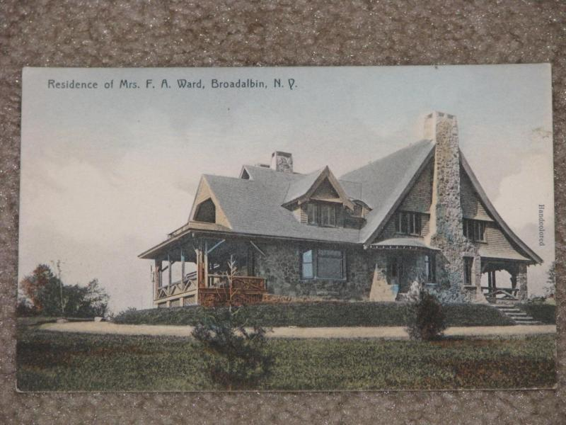 Residence of Mrs. F.A. Ward, (Handcolored) Broadalbin, N.Y., unused vintage card