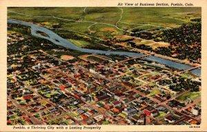 Colorado Pueblo Aerial View Of Business Section Curteich