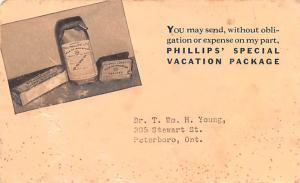 Medicine Advertising Old Vintage Antique Post Card Phillips' Special Unused