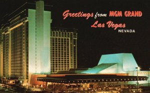Las Vegas, Nevada, NV, MGM Grand at Night, Chrome Vintage Postcard g5444