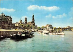Dresden, View of the Elbe with Bruehlsche Terrasse River Boats Bridge