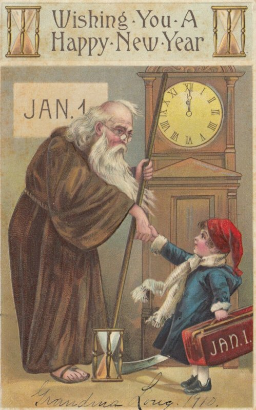 NEW YEAR ; Father Time & Baby New Year , 1910