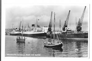 Weymouth Harbour From the Nothe, RP PPC, Local Slogan PMK, St Patrick & Sambur