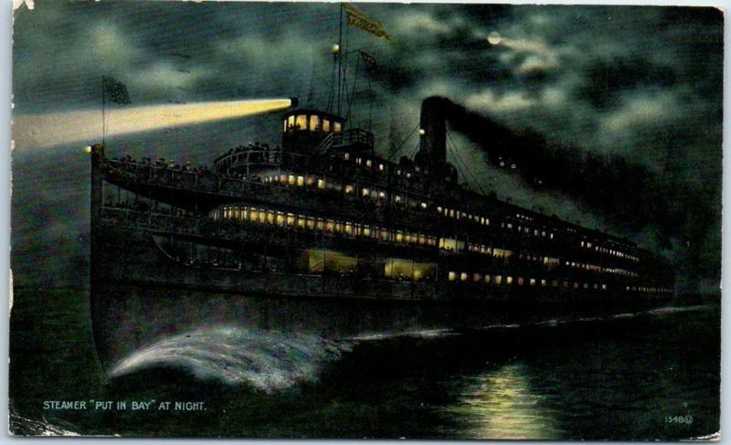 Ashley and Dustin Steamship Line Postcard STEAMER PUT IN BAY Night View 1912