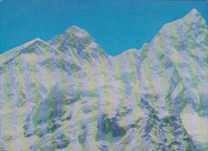 Nepal Mount Everest Flanked By Mount Nhuptse & Mount Lhotse