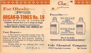 Cole chemical company St. Louis, Missouri, USA Postal Cards, Late 1800's 1924