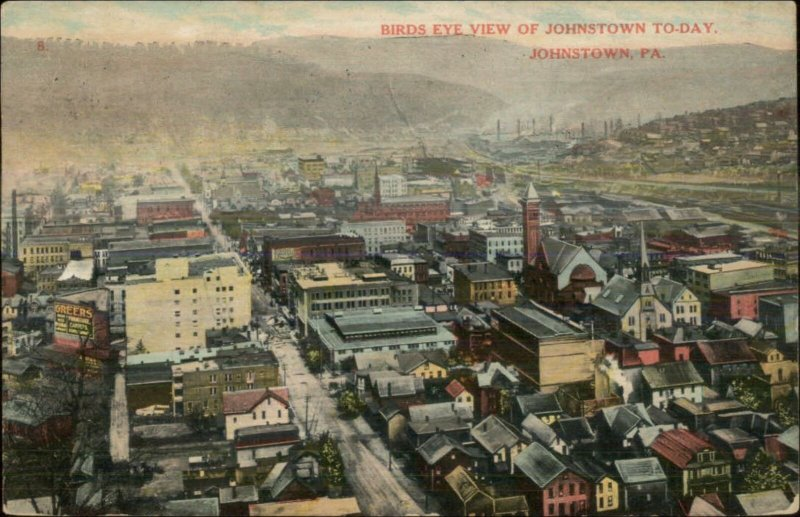 Johnstown PA Birdseye View c1910 Postcard