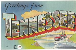 Greetings From Tennessee Ship Large Letter Big Letter Vintage Postcard Linen