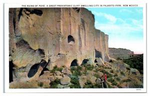 1930s Ruins of Puye, Pajarito Park, NM Postcard