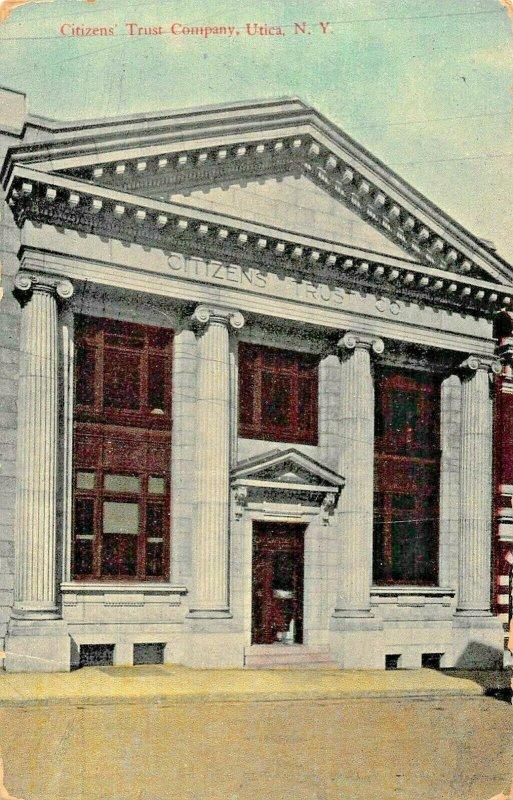 UTICA NY~CITIZENS TRUST COMPANY BANK BUILDING~1912 GLOVERSVILLE PSMK POSTCARD