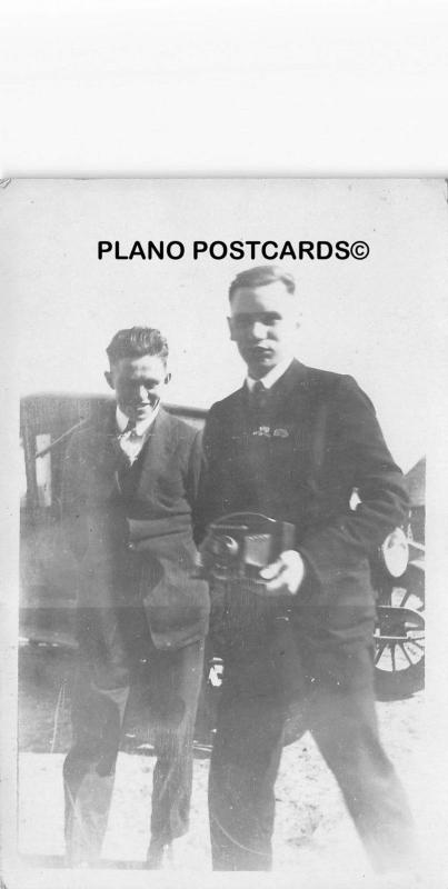 TWO GENTS WITH VINTAGE CAMERA AND AUTOS-EARLY 1900'S RPPC REAL PHOTO POSTCARD