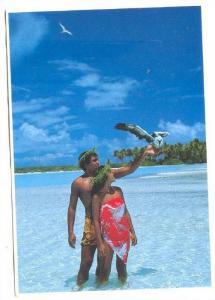 Young Polynesian couple & bird , Tahiti, 60-80s