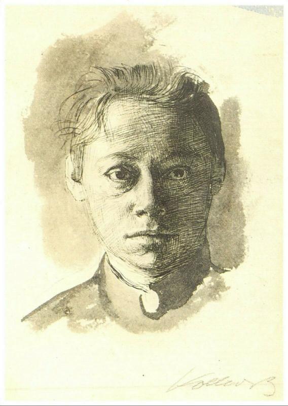 Art Postcard, Selbstbildnis (1892), by Kathe Kollwitz 3M