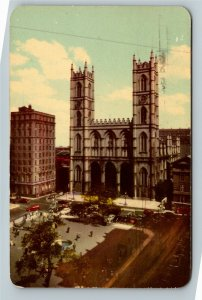 Montreal QC-Quebec Canada, Eglise Notre Dame Church, Chrome c1955 Postcard