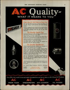 1927 AC Quality Spark Plugs Air Cleaners for Car Vintage Print Ad 3910