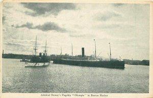 Admiral Dewey Flagship Olympia Boston Harbor #174 C-1905 Postcard 20-109