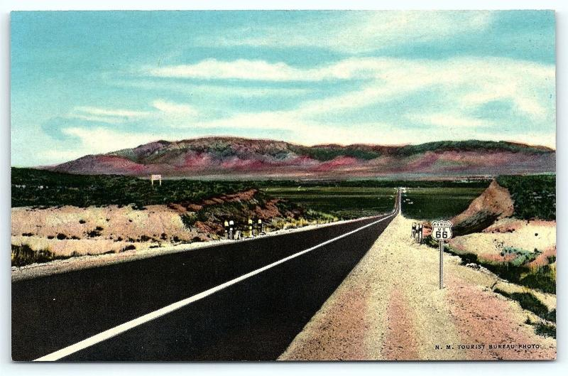 Postcard NM Albuquerque Route 66 Road Sign Entering Rio Grande Valley R34