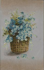 Forget-Me-Nots flower basket Greeting