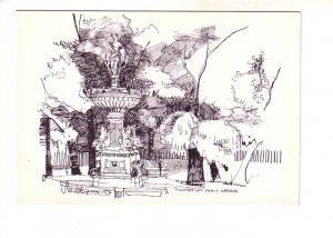 R Hupman Sketch of Fountain in Public Gardens, Halifax, Nova Scotia, Fly By N...