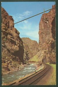 Royal Gorge Suspension Bridge CANON CITY CO Denver Rio Grande Railroad Postcard