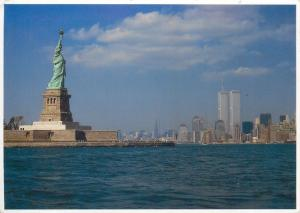 New York skyline and the Statue of Liberty WTC Twin Towers