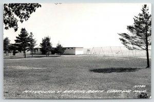 Gladstone Michigan~Playground Swings & Bathing Beach~Life Guard Stand~1950s RPPC