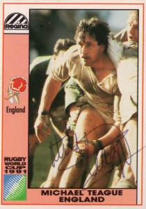 Michael Teague England Hand Signed Rugby 1991 World Cup Card Photo