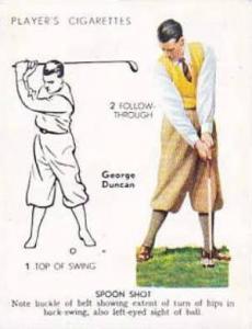 Player Vintage Cigarette Card Golf 1939 No 14 Spoon Shot George Duncan