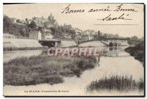 Postcard Old Bridge St Jean Le Mans