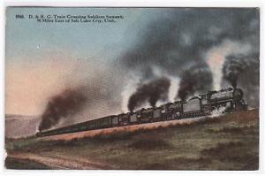 D&RG Railroad Train Soldiers Summit Utah 1910c postcard
