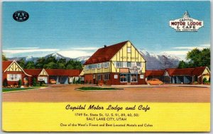 Salt Lake City, Utah Postcard CAPITOL MOTOR LODGE & CAFÉ Linen c1950s Unused