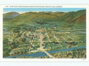 Unused Linen AERIAL VIEW OF TOWN Grants Pass Oregon OR d4140