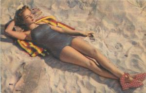 Bathing Beauty Stretched Out on Sandy Beach~Sunbather~1940s Linen MWM AB501