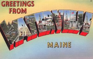 Waterville Maine~Large Letter Linen Postcard~School~Churches~1940s PC