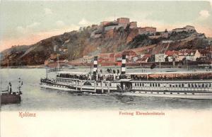 Germany  Koblenz,  Ferry on Rhine  Festung Ehrenbreitsein