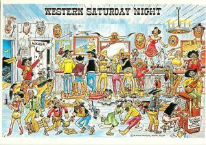 Western Saturday Night Saloon Dancing Bar Fight Cowboy Cowgirls Postcard  # 6622