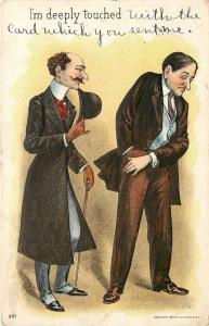 Deeply Touched~Victorian Bill Collector~Man Reaches in Pocket~Emboss~J Bien