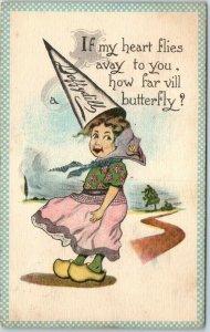 Vintage Daffydill Barton & Spooner Postcard How far vill Butterfly? 1913