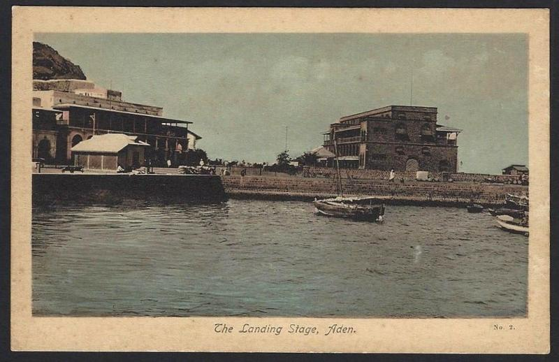 Aden The Landing Stage color postcard by M.S.Lehem & Co.