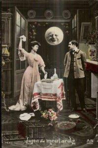 Romance Man in the Moon Fantasy A-N Paris 743 Tinted Real Photo Postcard #3