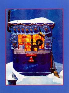 Norman Rockwell (Repro) - Christmas: News Kiosk in Snow (Size: 6.625 X 4.625)