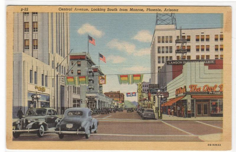Central Avenue Cars Owl Rexall Drug Store Phoenix Arizona linen postcard
