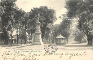 Milford Connecticut~Civil War Soldiers Monument~Gazebo~Nighborhood Houses~1905
