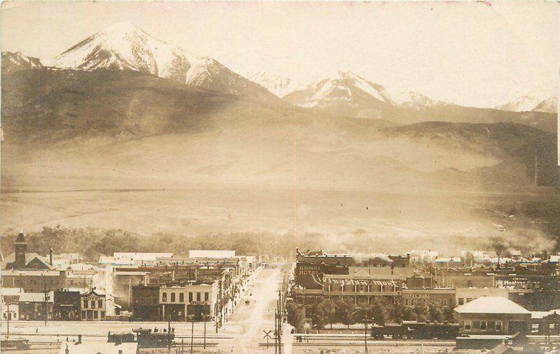 1909 Livingston Montana Birdseye View Railroad Depot Trains Hotel RPPC Photo