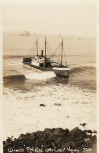 RP; Coast Hgway , Oregon, 1936 ; Shipwreck of the PHYLLIS