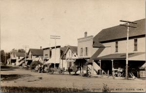 Floyd Iowa~West on Main Street~Hay Wagon~Hardware Store~Horse Blankets~1909 RPPC