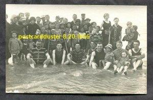 1656 - FRANCE 1930s Children, Men & Women Bathing Suits Real Photo Postcard